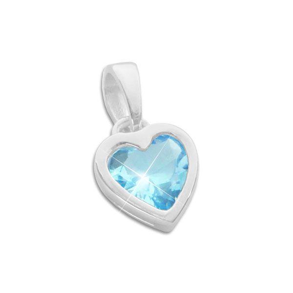 Kinder Herz Anhänger mit aquamarin blauem Zirkonia 925 Silber