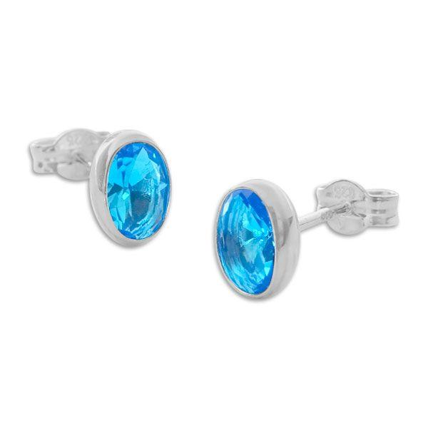 Ohrstecker mit ovalen Zirkonia Steinen aqua blau 925 Silber