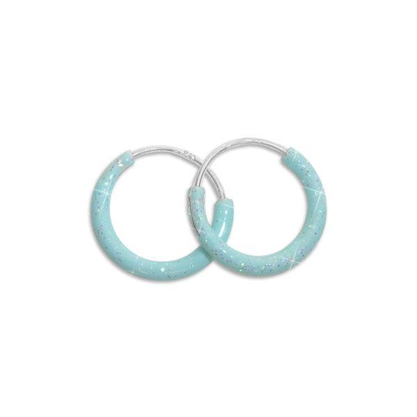 Glitzer Creolen hellblau 13 mm 925 Silber