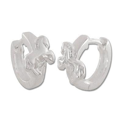 Kinder Pferde Creolen 925 Silber Ohrringe Geschenk für Mädchen