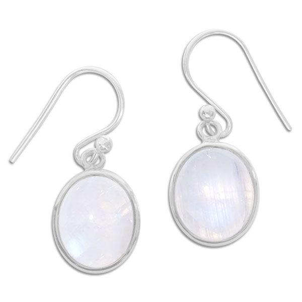 Ovale Ohrringe mit Mondstein 30 x 12 mm mit breiterem Rand 925 Silber
