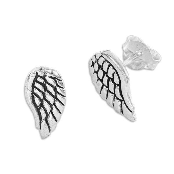 Engelsflügel Ohrstecker Ohrringe geschwärzt 925 Silber
