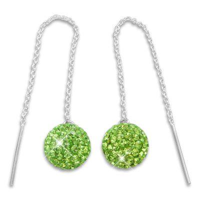 Damen Ohrringe Durchzieher mit XXL Kugel 3D hellgrüne Strass Kristalle 925 Silber