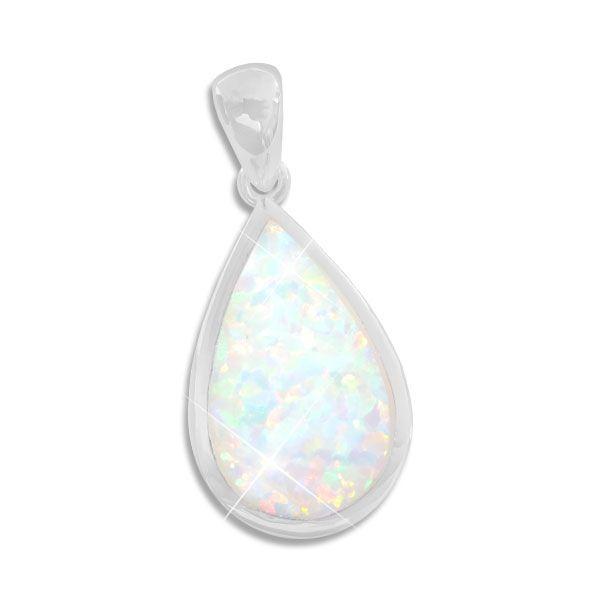 Opal Anhänger Tropfen groß 925 Silber