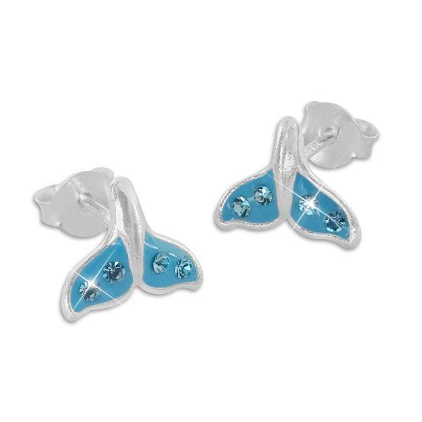 Hellblaue Walflossen Ohrstecker Ohrringe mit Kristallen 925 Silber