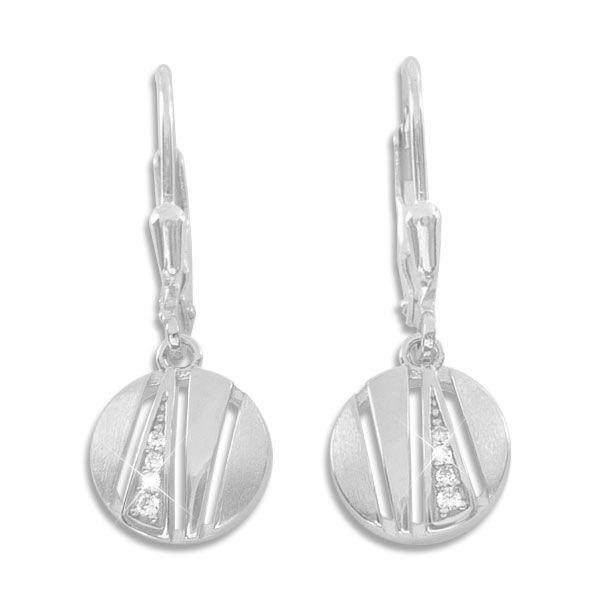 Ohrhänger rund mit Zirkonia matt-glänzend 925 Silber Ohrringe