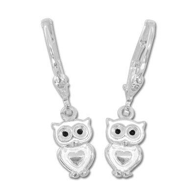 Ohrringe Schnee-Eule weiß 925 Silber Klapp-Brisuren mit weißen Eulen