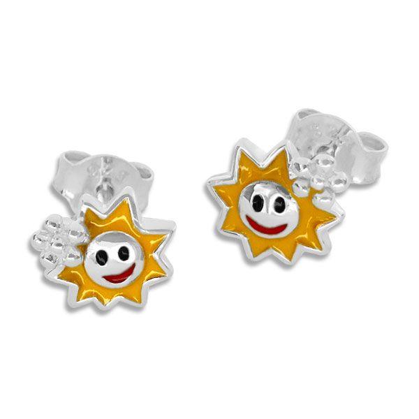 Ohrstecker mit lachenden lackierten Sonnen 925 Silber für Kinder
