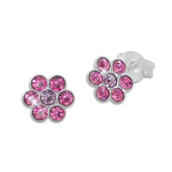 Ohrstecker Kinder Blumen mit pink und lila Kristallen 925 Silber