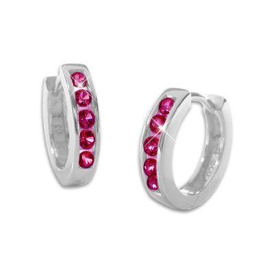 Klapp-Creolen für Damen mit rubin roten Zirkonia Steinen 925 Silber