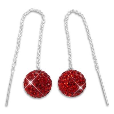 Durchzieher Ohrhänger mit XXL Kugel 3D rote Strass Kristalle 925 Silber