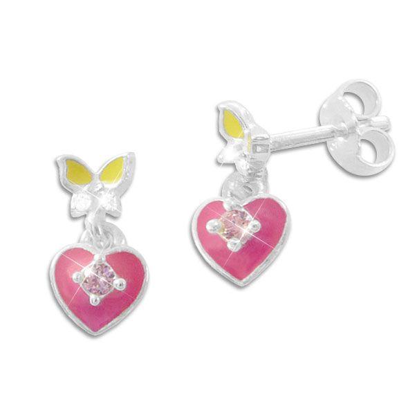 Kinder Ohrhänger mit Stecker Herz Schmetterling mit Strass 925 Silber