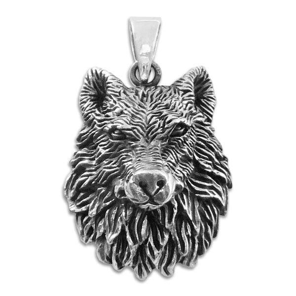 Wolfskopf Anhänger 925 Silber geschwärzter Wolf