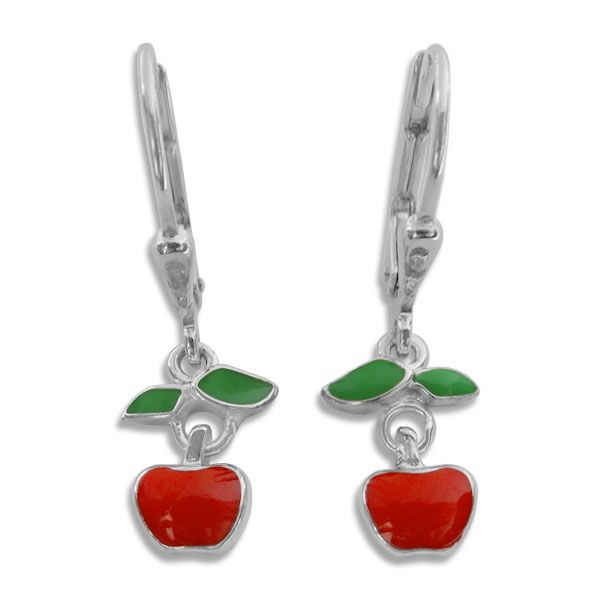 Ohrringe mit Äpfeln 925 Silber Apfel Brisur
