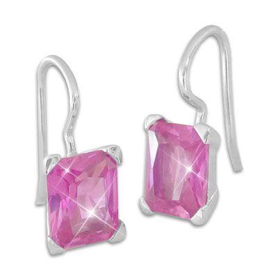 Strass Ohrhänger Ohrringe pink 925 Silber Damen Ohrhänger Schmuck