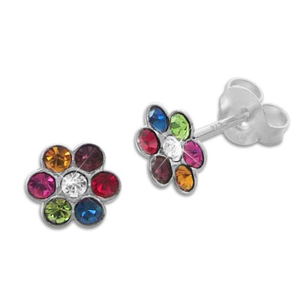 Ohrstecker Kinder Blumen mit bunten Kristallen 925 Silber