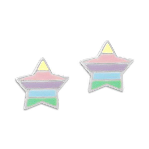 Ohrstecker Sterne in dunklen Pastellfarben 925 Silber Kinder Ohrringe