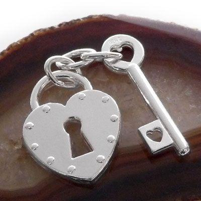 Herz Schloss Anhänger mit Schlüssel 925 Silber