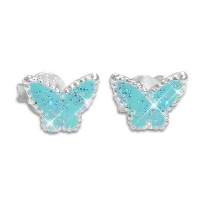 Kinder Ohrstecker Schmetterlinge blau mit Glitzer 925 Silber