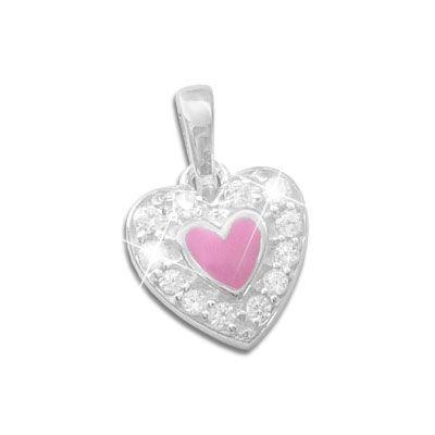 Kinderschmuck Anhänger Herz rosa und Zirkonia 925 Silber
