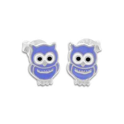 Kinder Ohrstecker Eulen Ohrringe lila 925 Silber