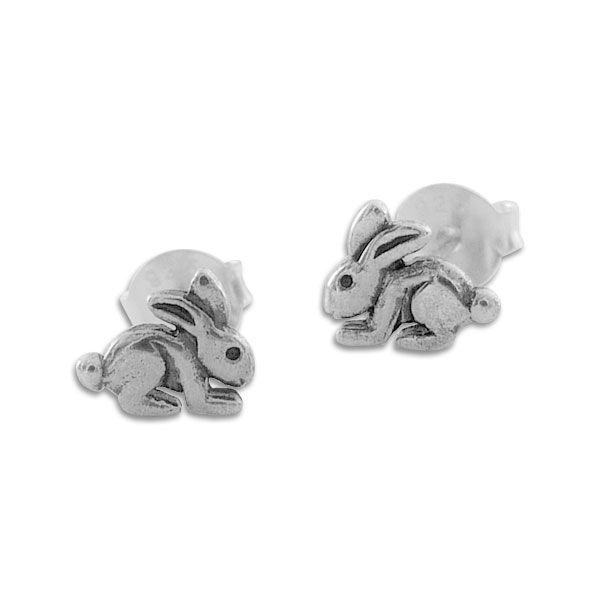 Ohrstecker Kaninchen geschwärzt 925 Silber Hasen Ohrringe