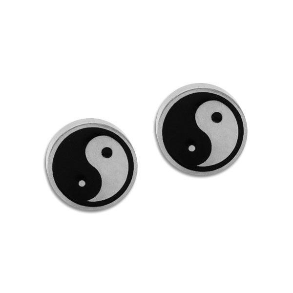 Edelstahl Ohrstecker rund mit Yin Yang schwarz silber