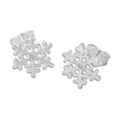 Schneeflocken Ohrstecker mattiert 925 Silber