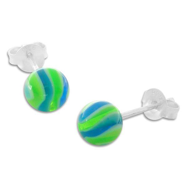 Kugel Ohrstecker UV Ball grün blau weiß 925 Silber