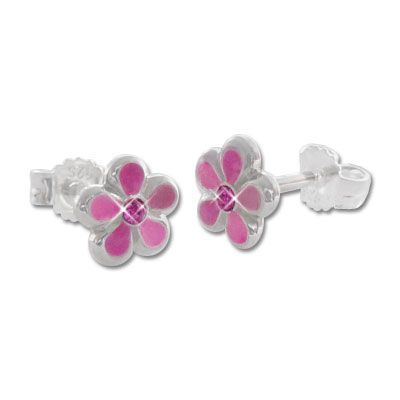 Ohrstecker Blume rosa 925 Silber Ohrringe