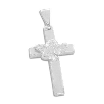 Kreuz Anhänger mit Engel 925 Silber
