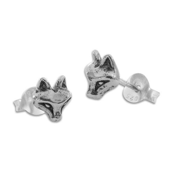 Ohrstecker Fuchskopf geschwärzt 925 Silber Ohrringe mit Füchsen