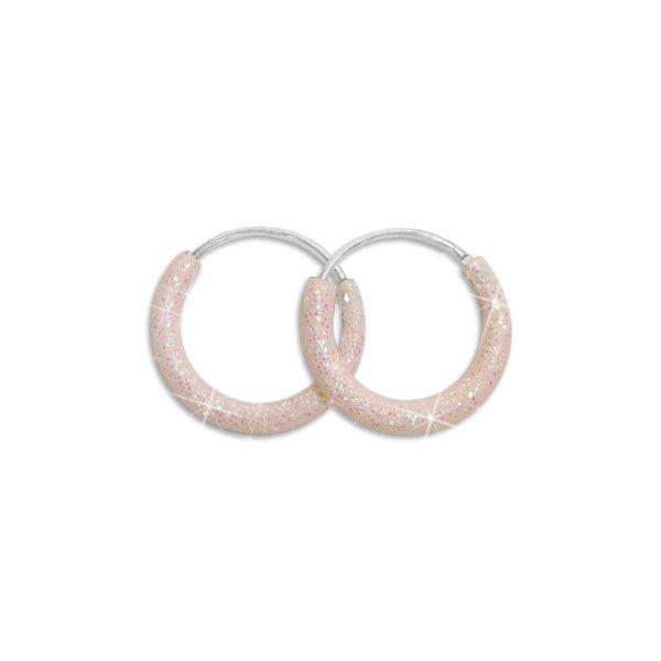 Glitzer Creolen rosa 13 mm 925 Silber