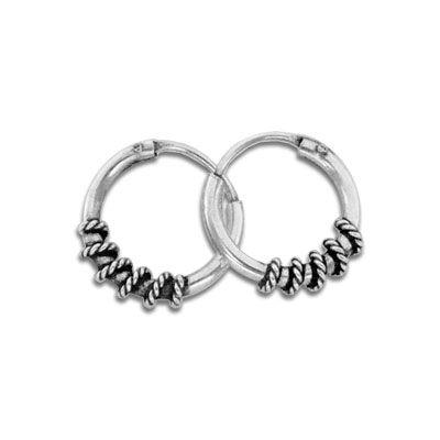 Kleine Bali Creolen gedrehtes Seil 925 Silber 10 mm