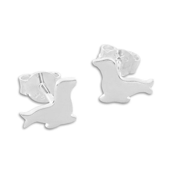 Ohrstecker Seerobbe mattiert 925 Silber Ohrringe Robben