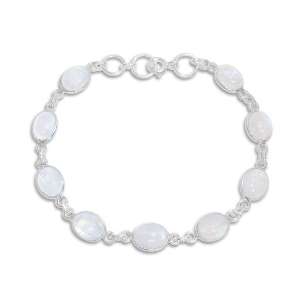 Regenbogen Mondstein Armband ovale Steine 19 - 20 cm 925 Silber