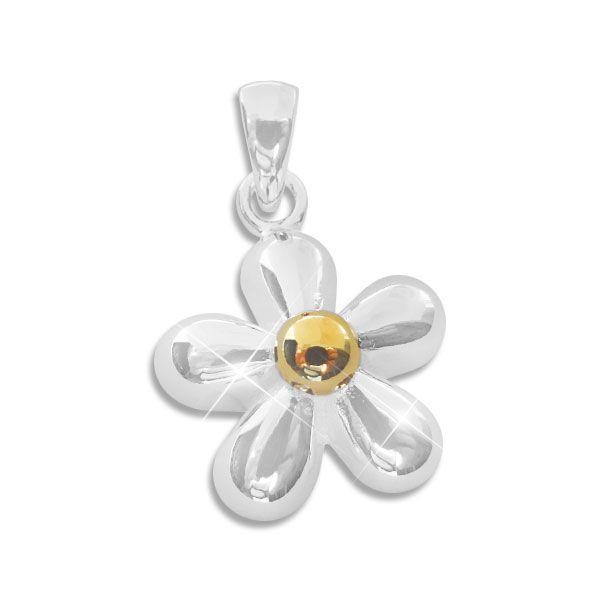 Blume glänzend bicolor 925 Silber