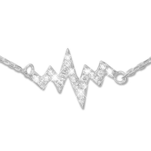 Herzschlag Kettchen mit Zirkonia Strass Steinen 45 cm 925 Silber