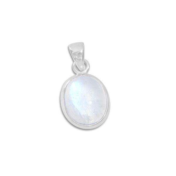 Anhänger mit ovalem Mondstein 14 x 12 mm 925 Silber