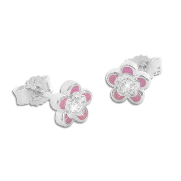 Ohrstecker rosa Blümchen mit weißen Zirkonia Strass Steinen 925 Silber