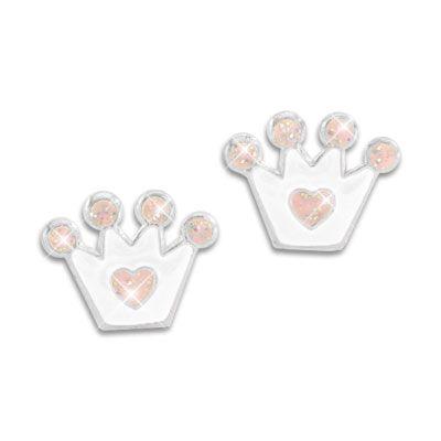 Kinder Ohrstecker mit Kronen weiß und rosa mit Glitzer 925 Silber