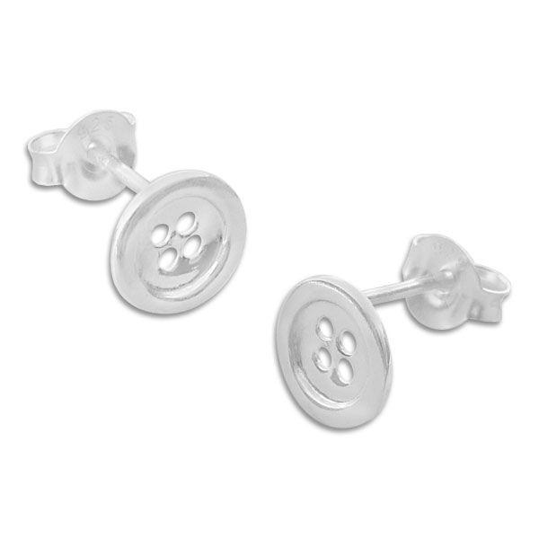 Ohrstecker Knopf glänzend 925 Silber Ohrringe mit Knöpfen