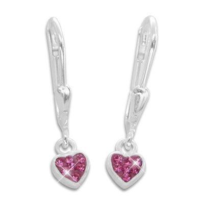 Kinderschmuck Ohrringe Herz Brisur pink 925 Silber