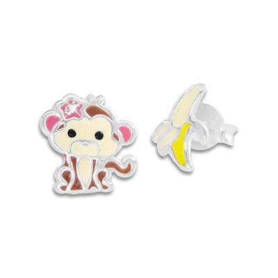 Kinder Ohrstecker Affen Mädchen und Banane 925 Silber