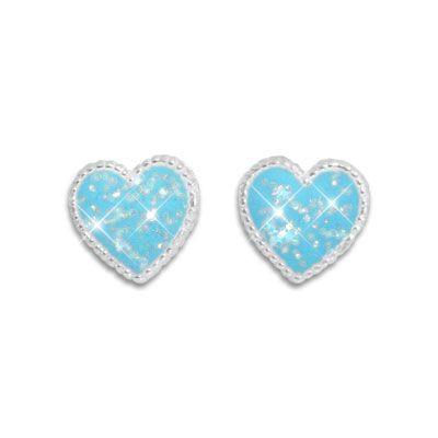 Hellblaue Herz Ohrstecker mit Glitzer 925 Silber Ohrringe für Mädchen