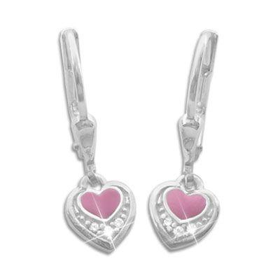 Kinderohrringe rosa Herz und Strass 925 Silber Mädchen Geschenk