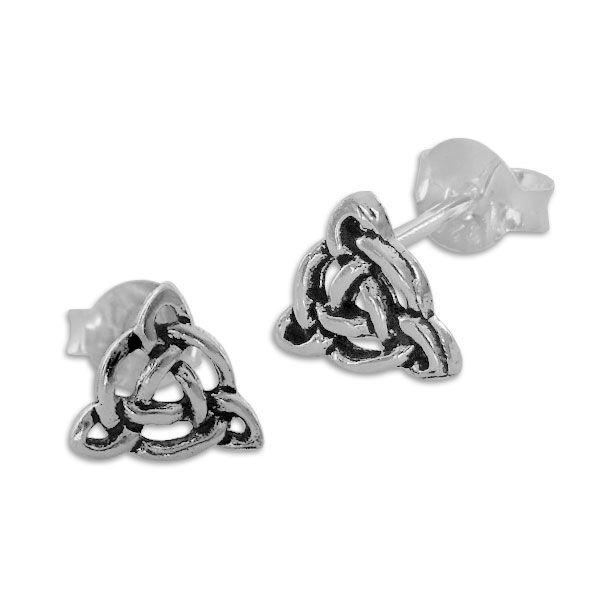 Ohrstecker mit keltischen Knoten 925 Silber Triquetra Ohrringe