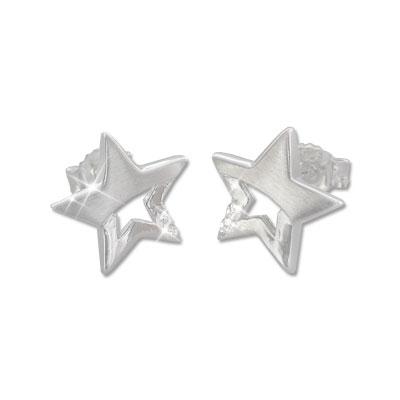 Ohrhänger verdreht NEU Star Stern 925 Silber Ohrringe Spirale Durchzieher