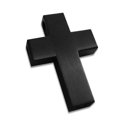 Edelstahl Kreuz Anhänger schwarz matt groß Edelstahlanhänger Herren