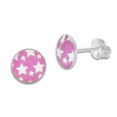 Runde Ohrstecker weiße Sterne auf rosa 925 Silber